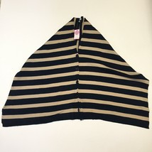 Madison Main Womens OS Poncho Sweater Beige Striped Button Front Buckhea... - $12.34
