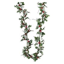 MINIATURE LASER SILVER HOLLY GARLAND image 3