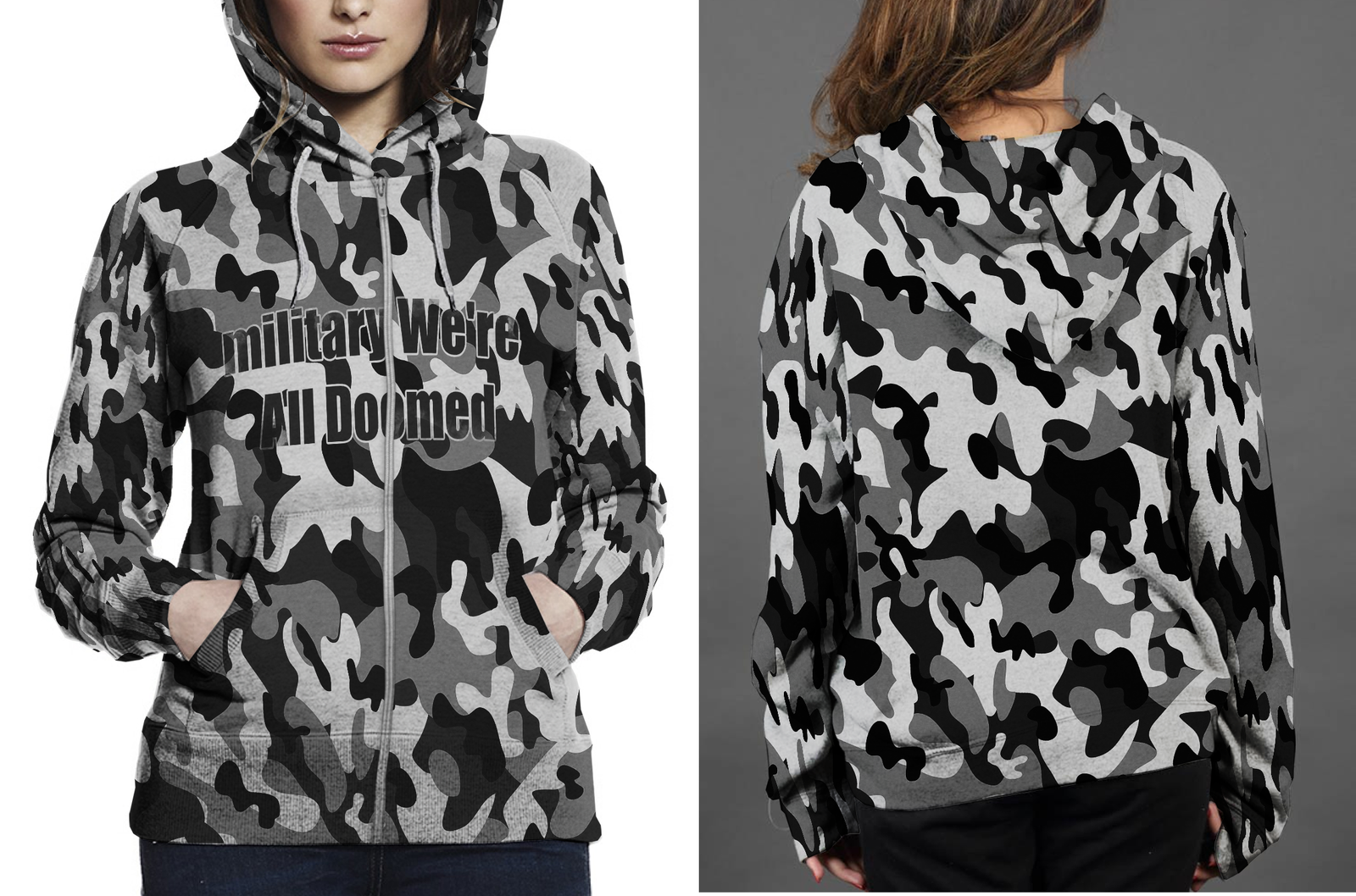 Military camouflage military we re all doomed hoodie fullprint zipper women