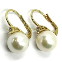 18K YELLOW GOLD LEVERBACK EARRINGS, BIG FRESHWATER PEARLS 12 MM, CUBIC ZIRCONIA image 1