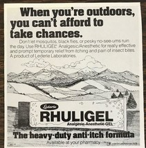 1979 Rhuligel Analgesic Anesthetic Ad When You're Outdoors Relief From B... - $9.95