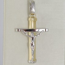 Cross Pendant Yellow Gold White 750 18K, With Christ, Stylized, Made In Italy - $194.82