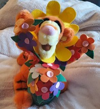 Walt Disney Have A Tiggerific Day Tigger Spring Plush Jointed Legs Flowe... - $22.49