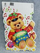 Eureka Christmas Diecut Teddy Bear Drummer 2 Sided Wall Decoration Unuse... - $9.90