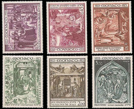 1973 St Francis of Assisi Set of 6 Monaco Stamps Catalog Number 880-84 C78 MNH