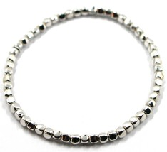 """SOLID 18K WHITE GOLD ELASTIC BRACELET, CUBES DIAMETER 3 MM 0.12"""", MADE IN ITALY image 1"""