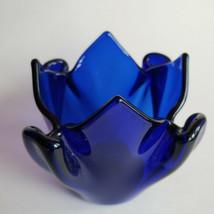 Sapphire Cobalt Indigo Blue Tealight Candle Holder Partylite P0321 Patri... - $14.77