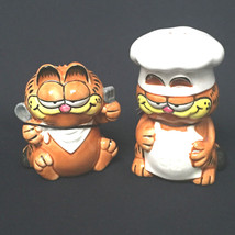 Garfield Ceramic Salt & Pepper Shaker Set Chef Salty Cat & Customer By E... - $43.55