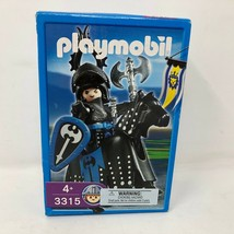 NIB Playmobil #3315 Medieval Evil Knight & Horse Black Armour Axe Cheval... - $49.49