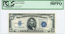 FR. 1650 1934 $5 Silver Certificate PCGS About New 58 PPQ - $43.65