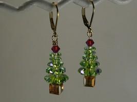 Swarovski Christmas Tree Earrings / BLUE ICE / 14k / made w/ Swarovski e... - $22.95+