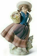 "New Lladro Figurine #5221 ""Sweet Scent"" 1983 Girl w/ Flower Basket Hat P... - $79.19"