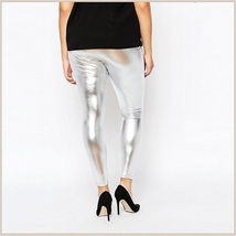 Tight Metallic Silver Stretch Faux Latex Plus Size Elastic Waistband Leggings   image 3