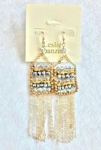 Leslie Danzis Colorblock Austrian Crystal Fringe Chain Chandelier Earrings NWT image 2
