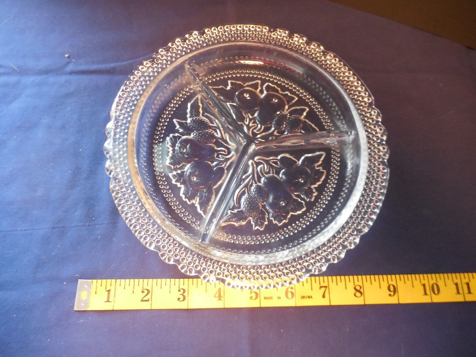 Imperial Glass Intaglio Fruit Round Divided Relish Dish 3 Part