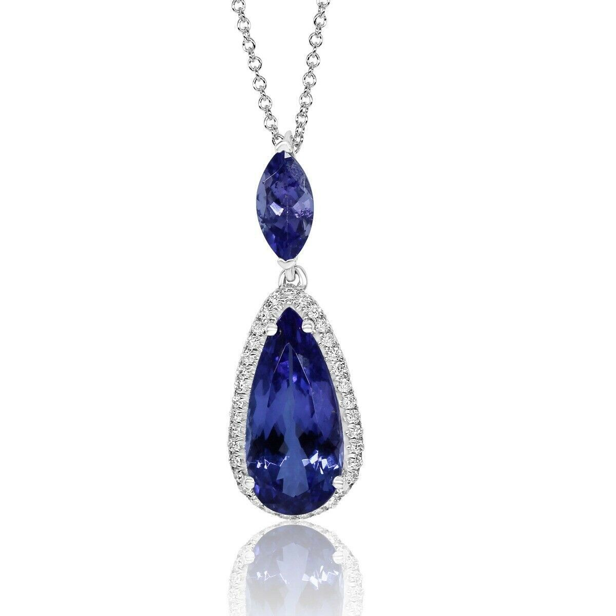 Primary image for 4.52 Ct Teardrop Natural Tanzanite Diamond Halo Pendant Necklace 14k White Gold