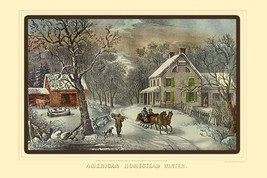 American Homestead Winter by Nathaniel Currier - Art Print - $19.99+