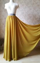 Yellow Rust Maxi Chiffon Skirt Outfit Floor Length Bridesmaid Chiffon Skirt image 1
