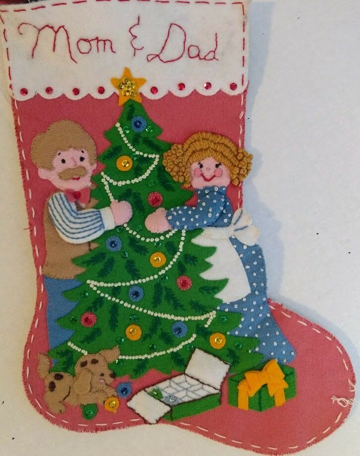 Vtg Christmas Tree Sequins Mom & Dad Completed Embroidery Stocking Puppy Pink