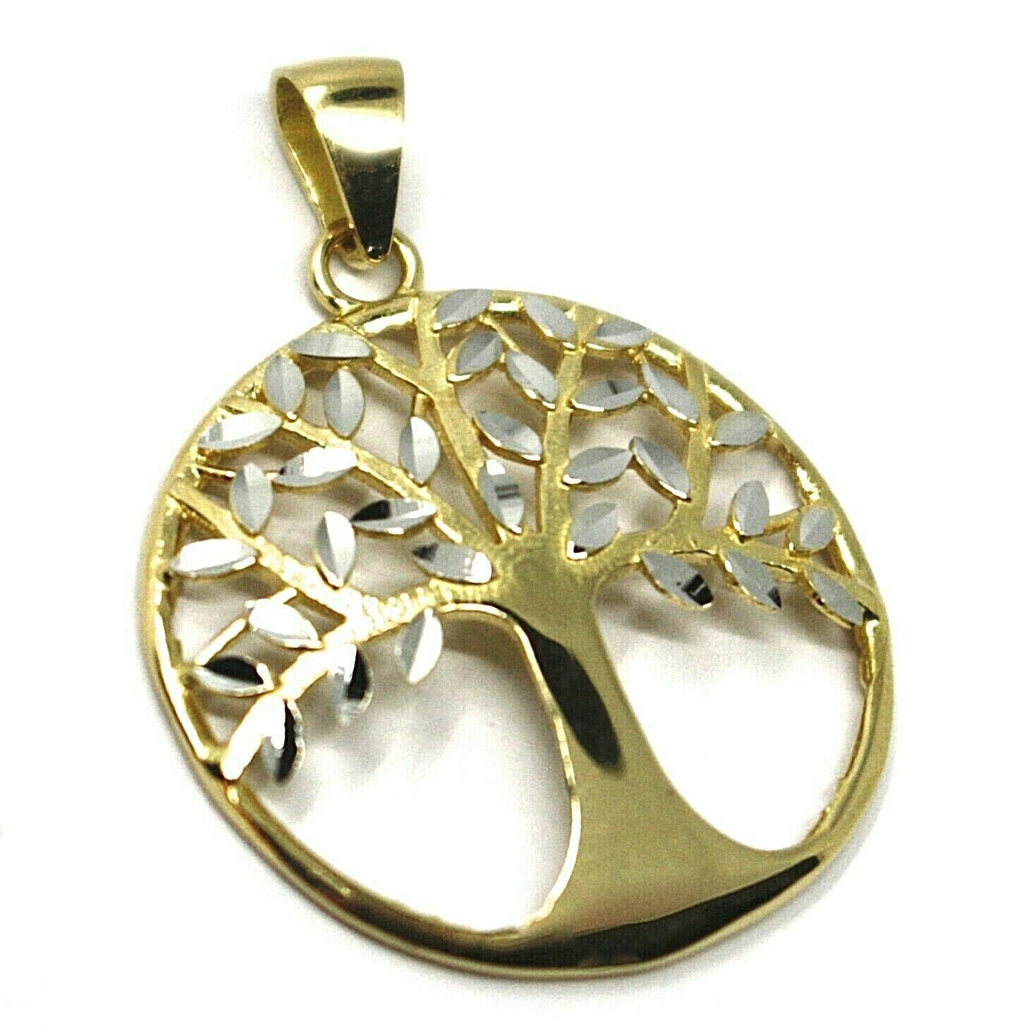 Pendant Gold 750 18K, Yellow White, Tree of Life, Leaf Root, Pendant