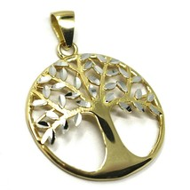 Pendant Gold 750 18K, Yellow White, Tree of Life, Leaf Root, Pendant image 1