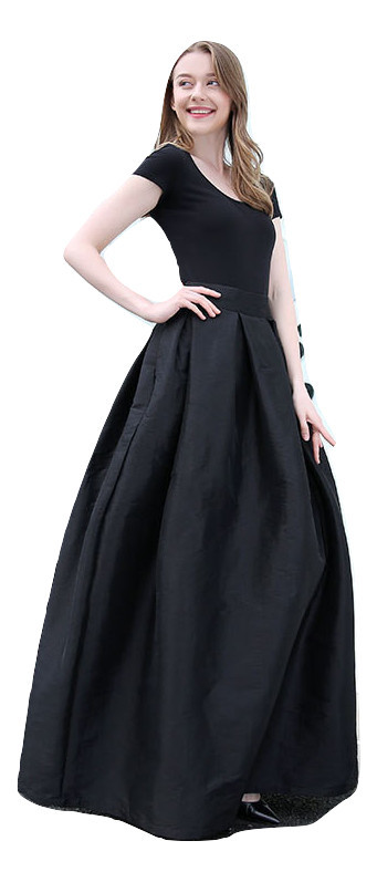BLACK High Waisted Ruffle Long Maxi Skirt Taffeta Party Prom Skirt Black Pockets