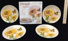 "Pfaltzgraff Sunflower Appetizer Plates Set 4 Original Box Butterfly 6"" NOS - $28.70"