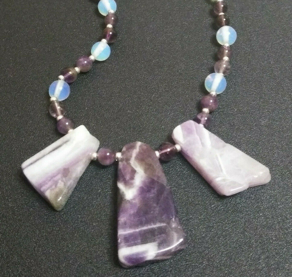 Primary image for Necklace with Triple Amethyst Pendants, Amethyst and Moonstone Beads Valentines