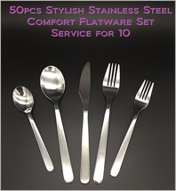 50pcs - New Modern, Stylish & Classic Stainless Steel Flatware - Set for 10 - $59.58