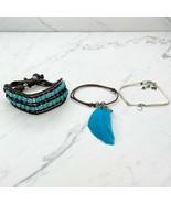 Multicolor Lot of 3 Beaded Boho Bracelets Feather - $17.42