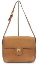 TED LAPIDUS PARIS Suede Leather Shoulder Bag Tan Flap Gold-Tone HW VINTAGE - $277.88