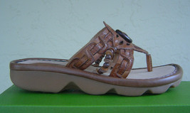 NEW EARTH  BROWN CALF LEATHER SANDALS SIZE 8 M $80 - $32.99