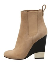 $1195 Givenchy Beige Metaltip Ankle Booties Wedge Gored Slip On Boots 35.5- 5.5 - $315.00