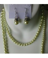 Vintage Very Long Graduated Light Green Glass Faux Pearl Necklace & Earr... - $54.45