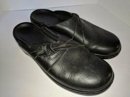 Clarks Black Leather Slide Mules Clogs Women's Size 6.5 M Slip On Comfor... - £18.51 GBP