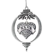 Inspired Silver Nana Pave Heart Holiday Christmas Tree Ornament With Crystal Rhi - $14.69