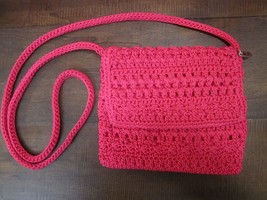 "The Sak Shoulder/Crossbody Pink  Crochet purse zip pocket cc slots 6.5"" ... - $16.73"