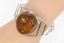 Vintage Sterling Silber Groß Gelb Ton Bernstein Armreif Armband 35.1g - $1,057.72