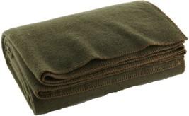 "Olive Drab Warm Winter Wool Camping Blanket 62"" x 80"" - $24.99"