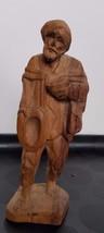 "Old Man wood sculpture hand carved Figure Folk Art Statue 6.5"" tall - $19.98"