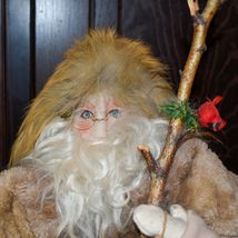 """Handcrafted Woodland Eskimo Santa Claus Father Christmas Signed 28"""" Cloth Doll image 5"""