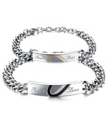 Stainless Steel Real Love Heart Matching Set Couples Bracelet - £20.68 GBP