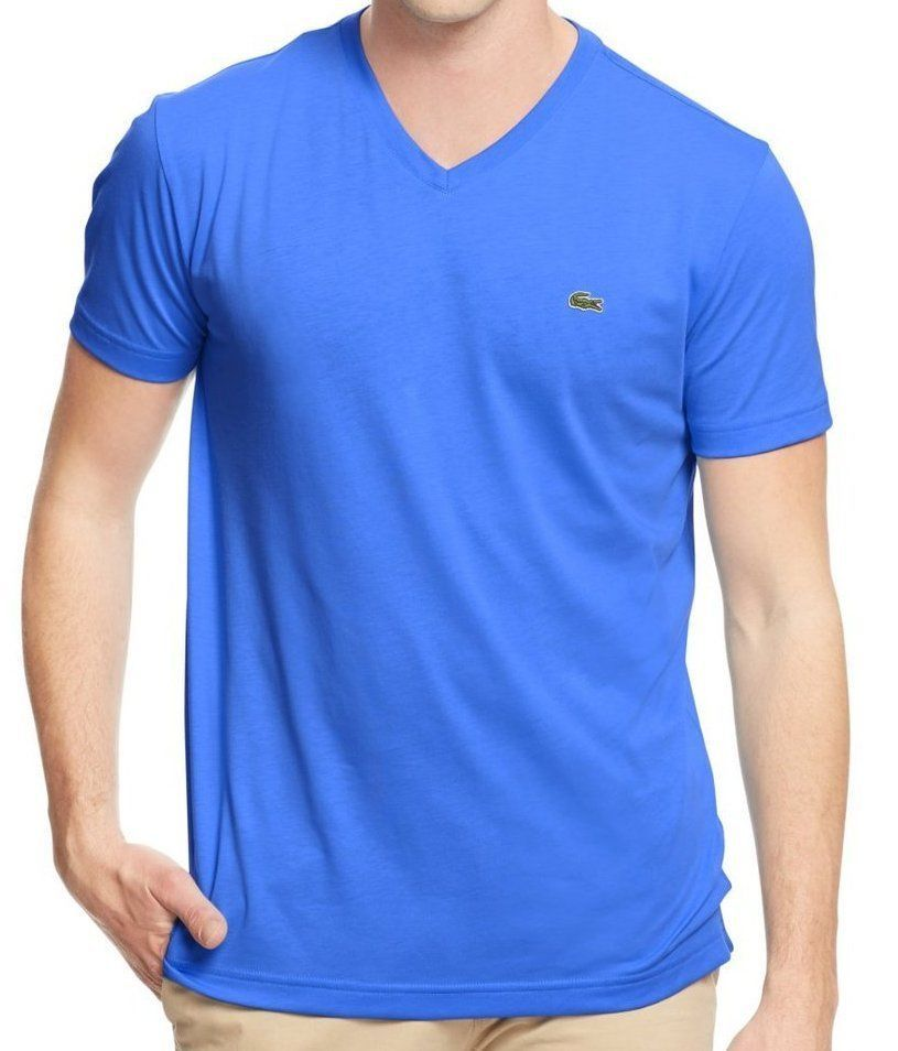 NEW LACOSTE MEN'S SPORT PREMIUM PIMA COTTON V-NECK SHIRT T-SHIRT LASER BLUE