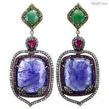 Tanzanite/Ruby Gemstone 925 Silver Dangle Earrings Gold Pave 2ct Diamond... - $1,987.32
