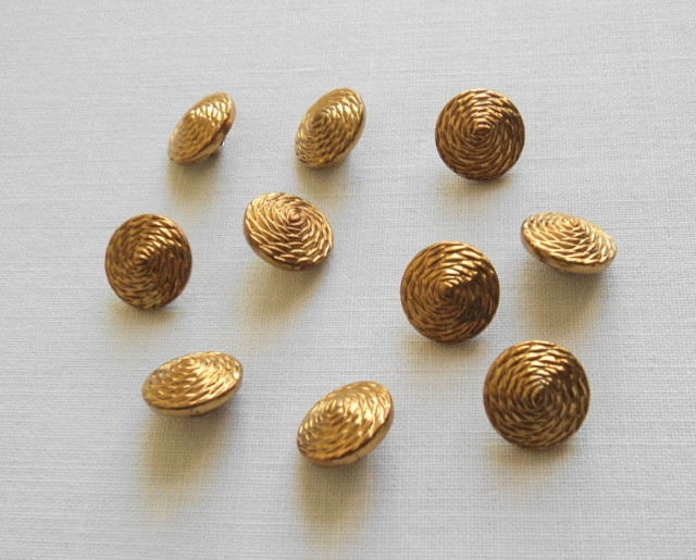 Primary image for 10 Sewing Craft Gold Tone Metal Round Buttons w/ Coiled Rope Design-Free Shippin