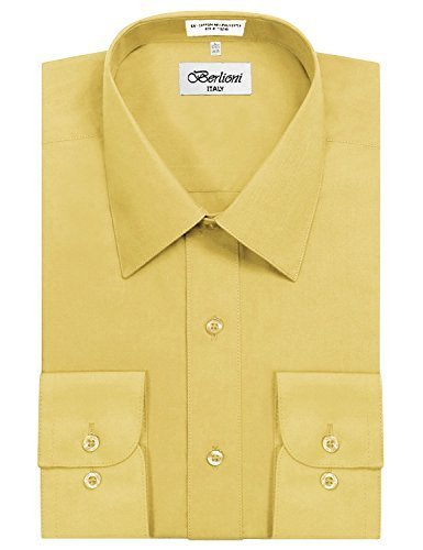 Berlioni Italy Men's Long Sleeve Solid Premium Dress Shirt
