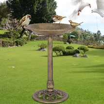 Antique Gold Freestanding Pedestal Bird Bath Feeder - £35.67 GBP