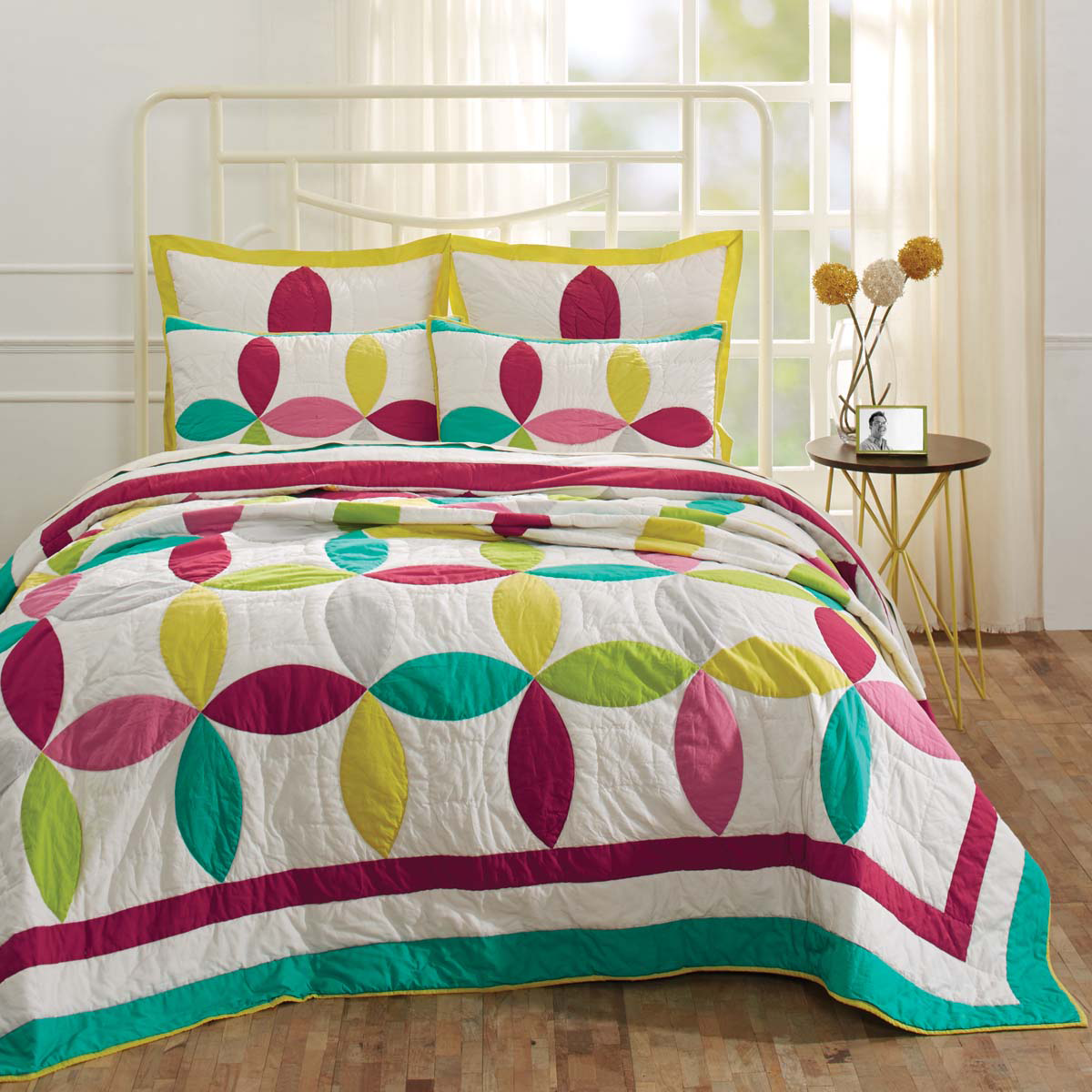 5-pc King - EVERLY Quilt Shams Euro Set - Bright Colors on White - VHC Brands