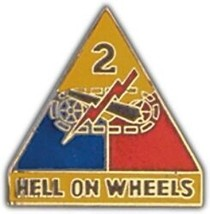 Army 2ND Armored Division Hell On Wheels Military Pin - $15.33