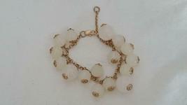 "7""VINTAGE Filigree Faux Frosted Glass Dangle Bead Matt Goldtone Bracelet, Pretty - $4.94"
